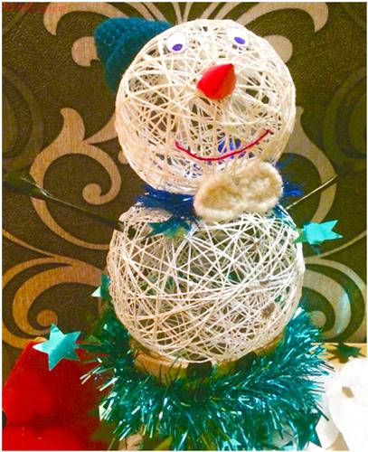 снеговик из ниток своими руками, как сделать снеговика из ниток