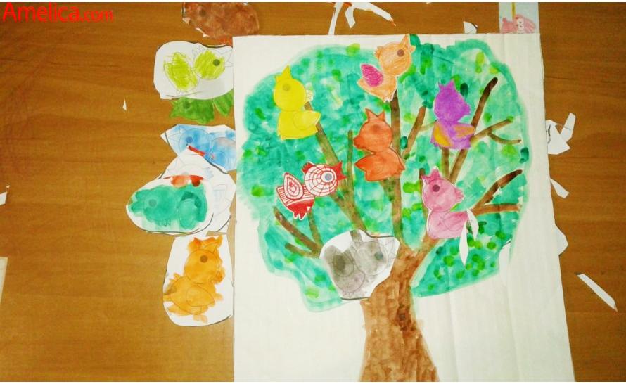 Аппликация из бумаги для детского сада или для занятий дома